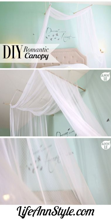 truebluemeandyou u201c DIY Bed Canopy Tutorial from Craftaholics Anonymous. This has got to be one of the cheapest and easiest DIY bed canopies Iu0027ve posted.  sc 1 st  Pinterest & diy-bed-canopy | Tumblr | Apartment | Pinterest | Canopy Bedrooms ...