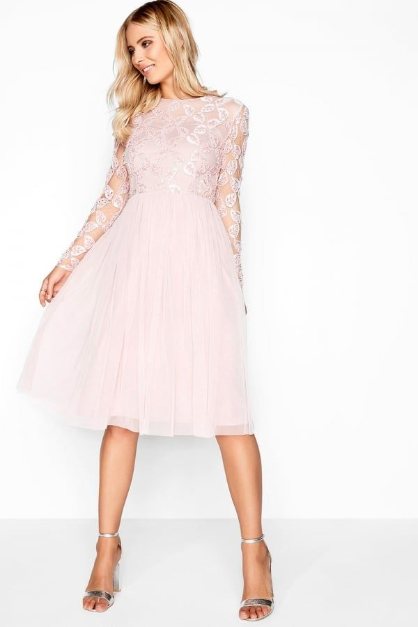 Little Mistress Pink Embroidered Midi | Bridesmaid | Pinterest