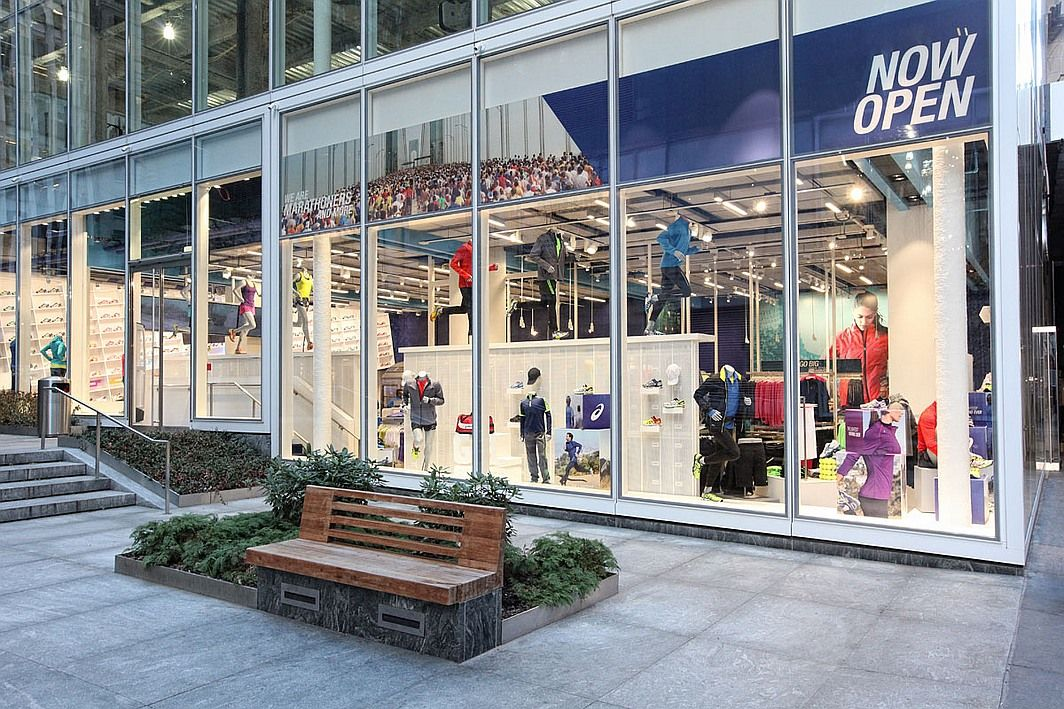 Exterior of the Mapos-designed Asics store in New York.  interiordesign   interiordesignmagazine  design  projects  retail 7bf95a770196