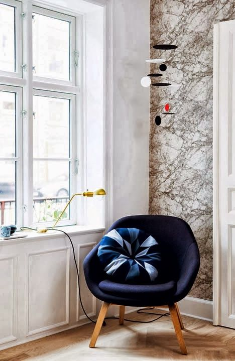 Via My Scandinavian Home | HAY About A Chair | Ferm Living Marble Wallpaper  | Mobile