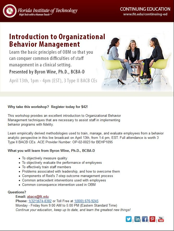 Learn The Basic Principles Of Organizational Behavior Management With Our Live Broadcast On April 1 Organizational Behavior Behavior Management Career Planning