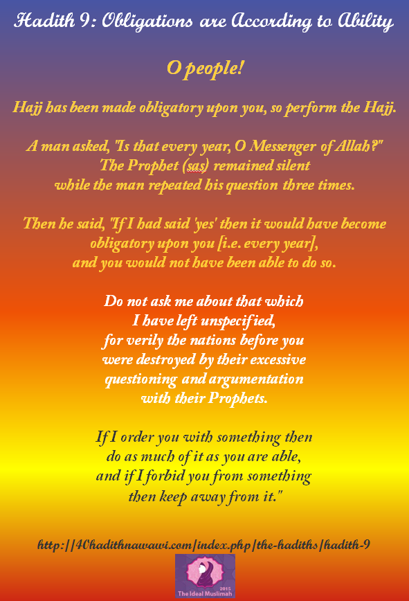 Hadith 9: Obligations are According to Ability #islam #muslim