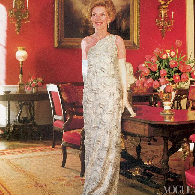 Tricia Nixon Wedding Gown: Nancy Reagan In Her 1981 James Galanos Inaugural Ball Gown