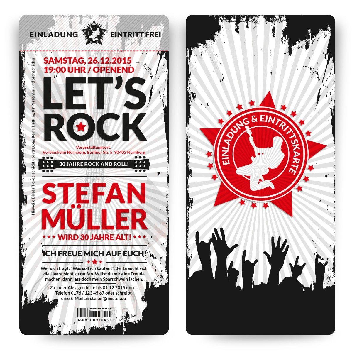 Einladungskarten Zum Geburtstag Im Rock And Roll Ticket Motiv Individuell  Bedruckt Und Mit Perforation Versandkostenfrei Online Bestellen!
