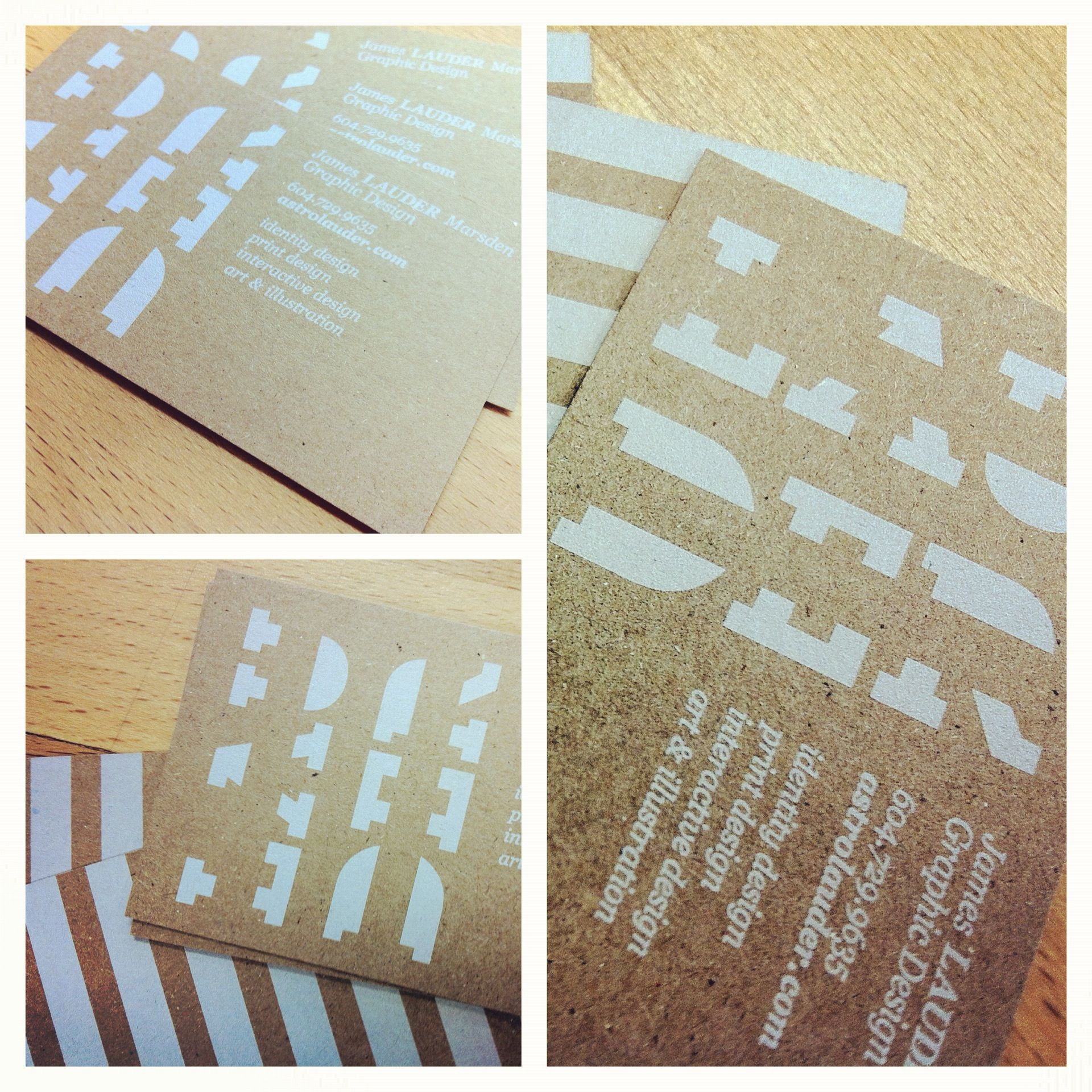 24pt natural kraft business cards with spot white ink by