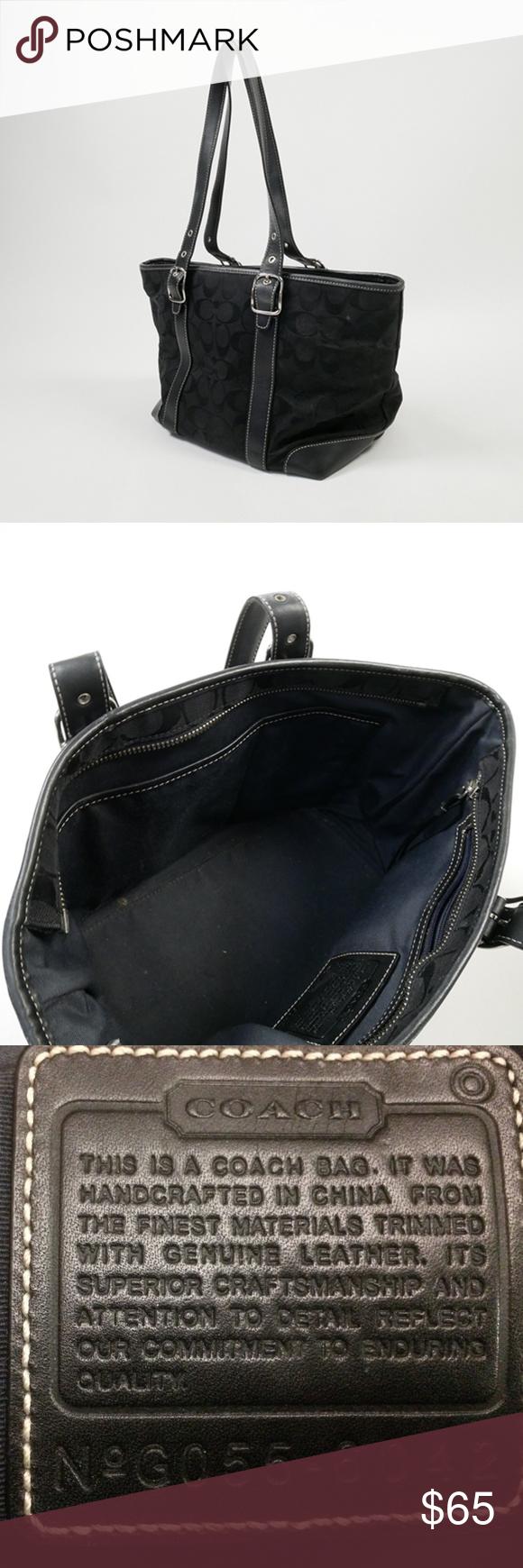 b9241d642a COACH 6042 Black Signature Tote Bag Authentic Coach 6042 Signature Print  Classic Logo Purse Handbag Silver