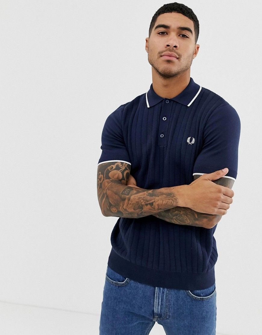 72fd47728123 FRED PERRY KNITTED TIPPED POLO IN NAVY - NAVY. #fredperry #cloth ...