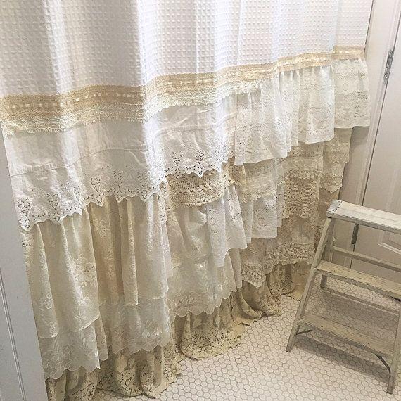 Shabby Chic Shower Curtain White Ivory Lace Ruffle Girls Bohemian ...