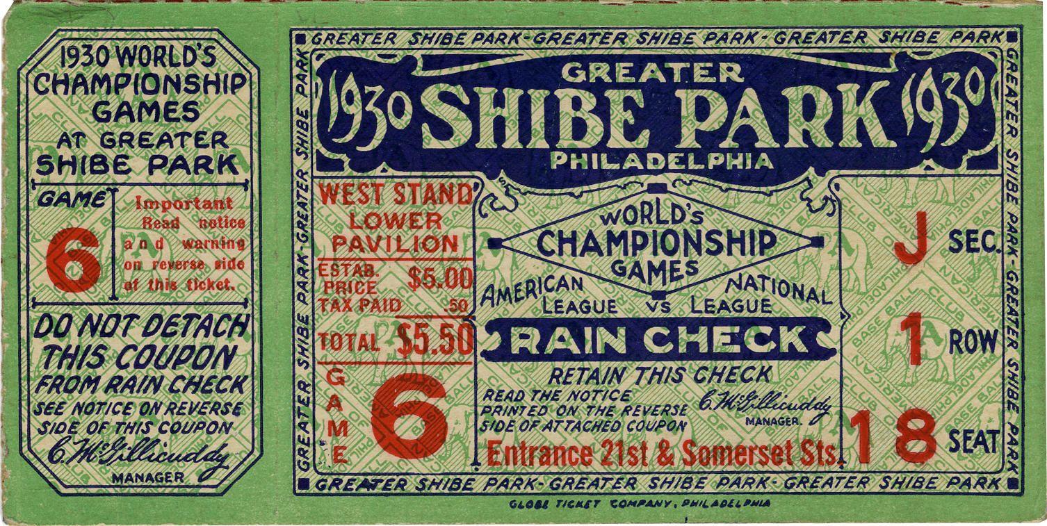 Baseball 1930 world series game six ticket stub connie
