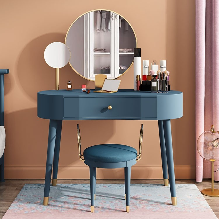 Elegant Makeup Vanity Table Set with Drawer & Stool 2 Mirrors Included Blue / White / Pink / Green