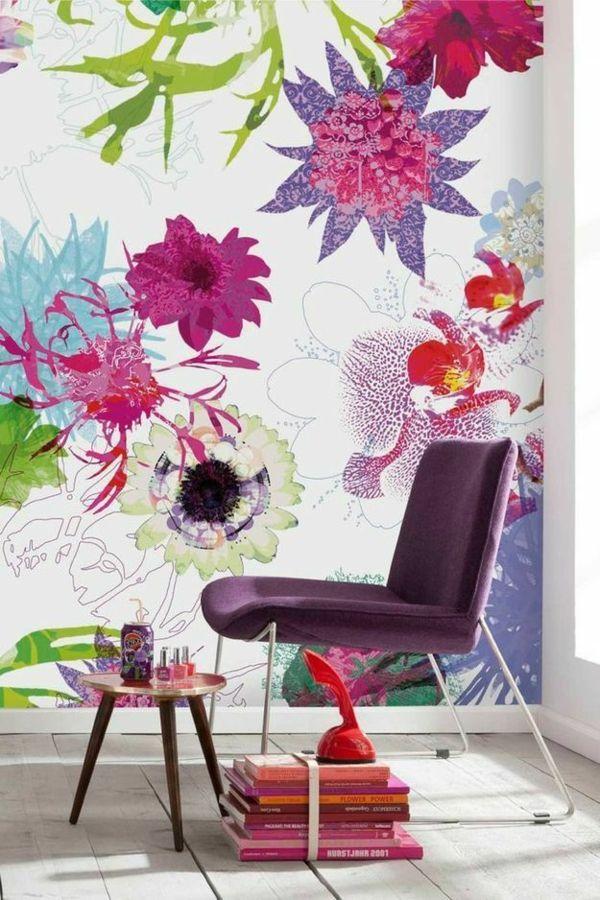 tapetenmuster mit blumenmotiven sch ne wandgestaltung ideen walls pinterest tapeten. Black Bedroom Furniture Sets. Home Design Ideas