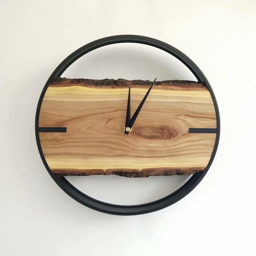 Modern 12 Live Edge Mute Wall Clock Round Metal Frame Natural Wood Clock Silent Sweep Movement Wood Clocks Round Wall Clocks Natural Wood