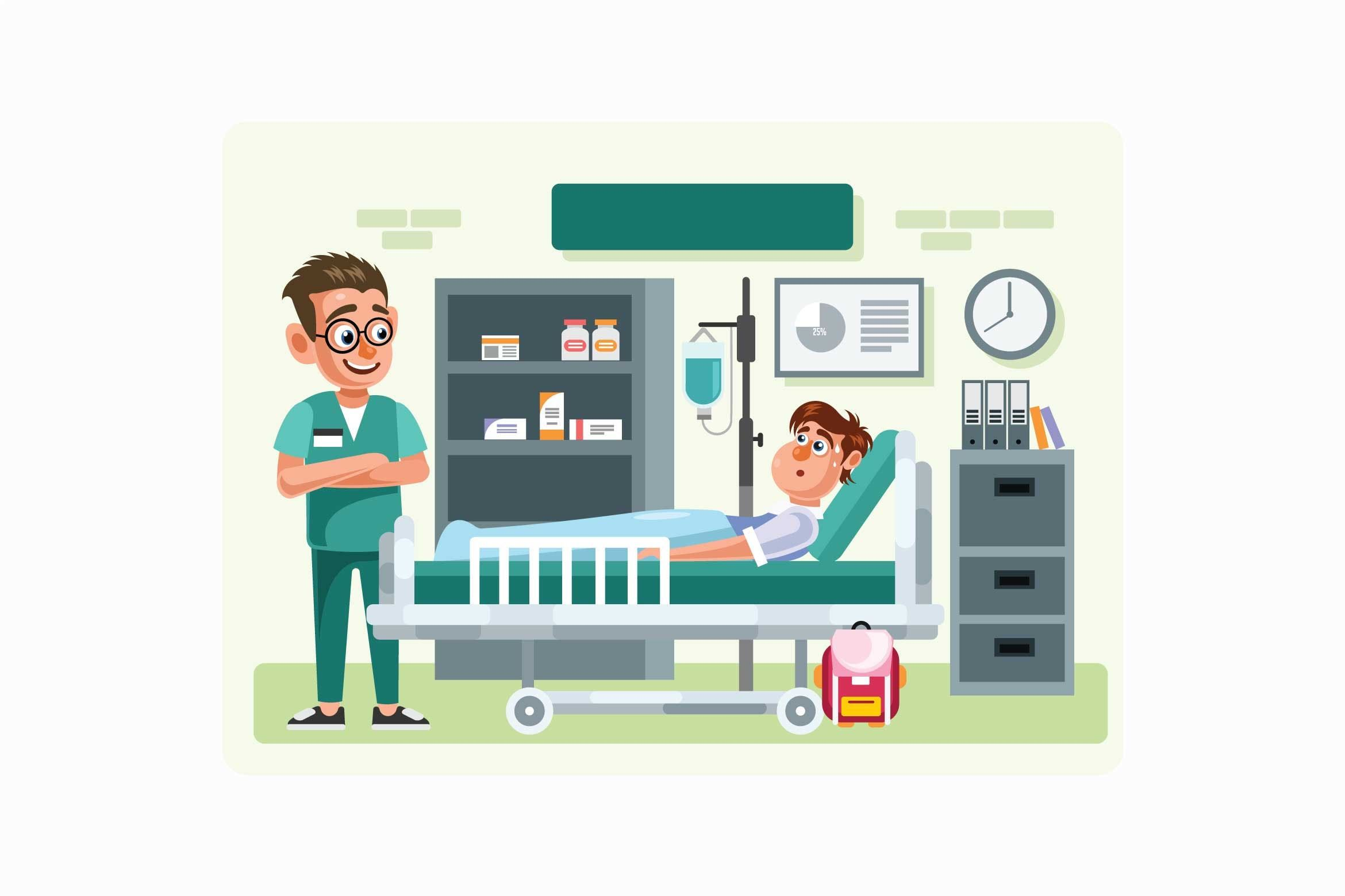 Doctor and Patient in Hospital Room Illustration doctor