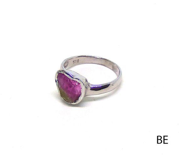 Raw watermelon tourmaline ring sterling silver 925 prong