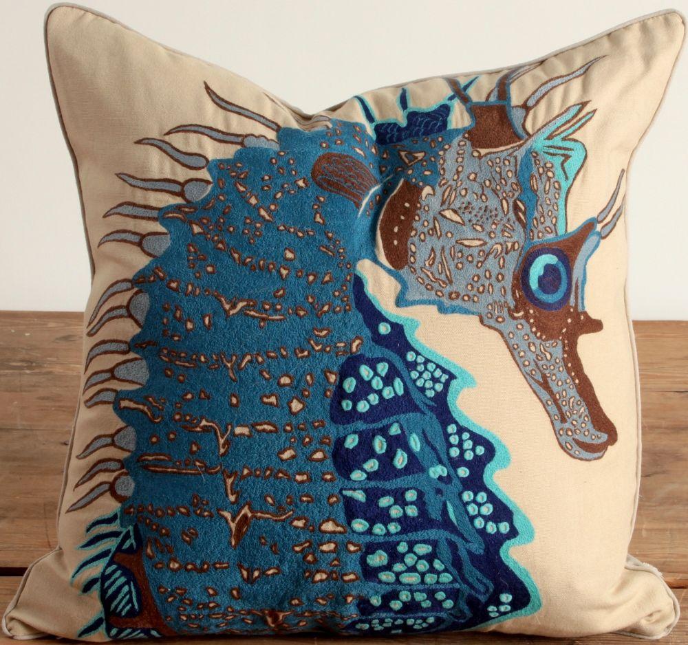 coral//green-10 inch coastal decor Seahorse Pillow beach house decor