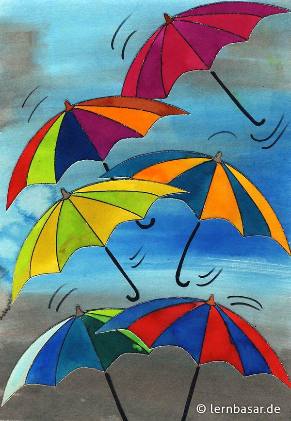 Schmuddelwetter farbenfrohe regenschirmparade klasse - Fensterdeko herbst grundschule ...
