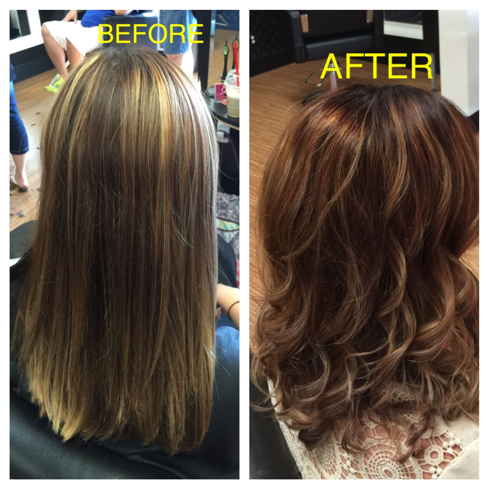 Before and after using olaplex and balayage by hillary collins