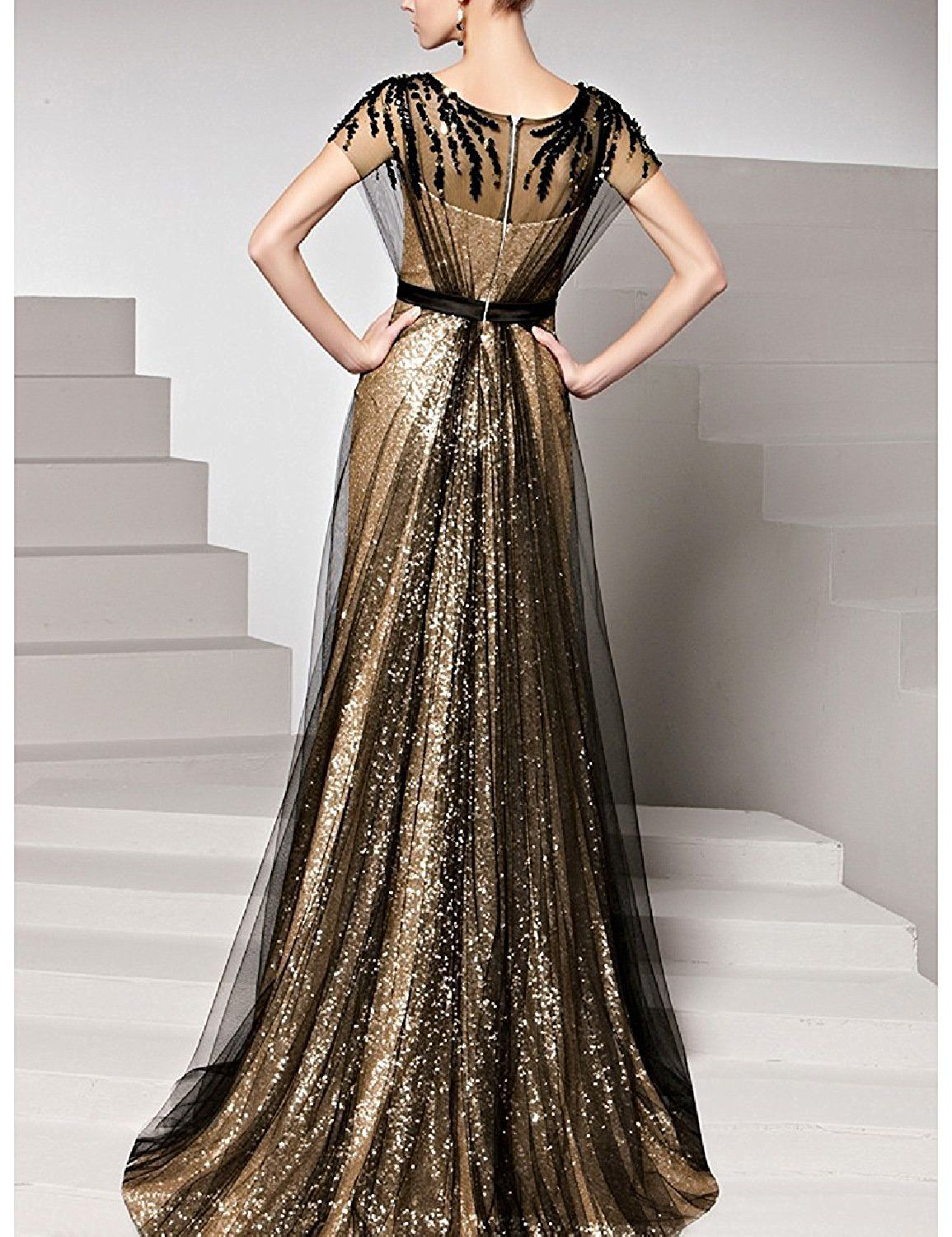 Dressvip gold sequined applique prom dress for women with black