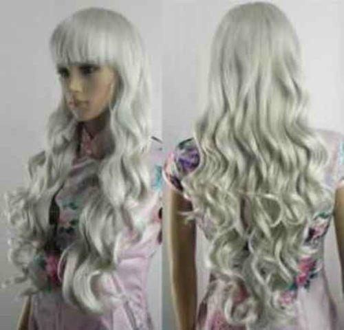 Y277 Popular Stylish Long Gray White Curly Health Women's Wig Free Wig Cap | eBay