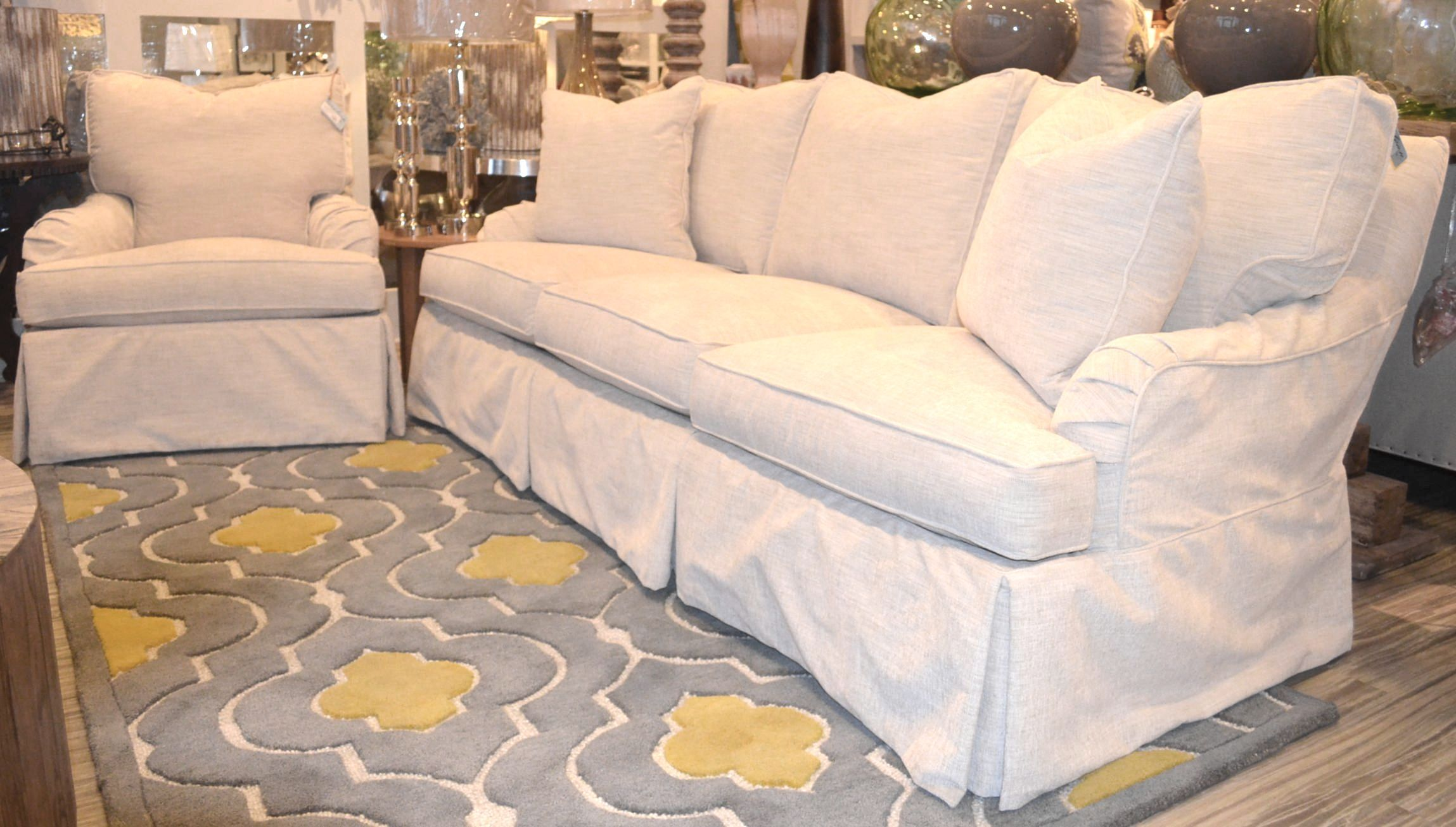 This Gorgeous Three Seat Slipcover Sofa And Slipcover Chair By Lee