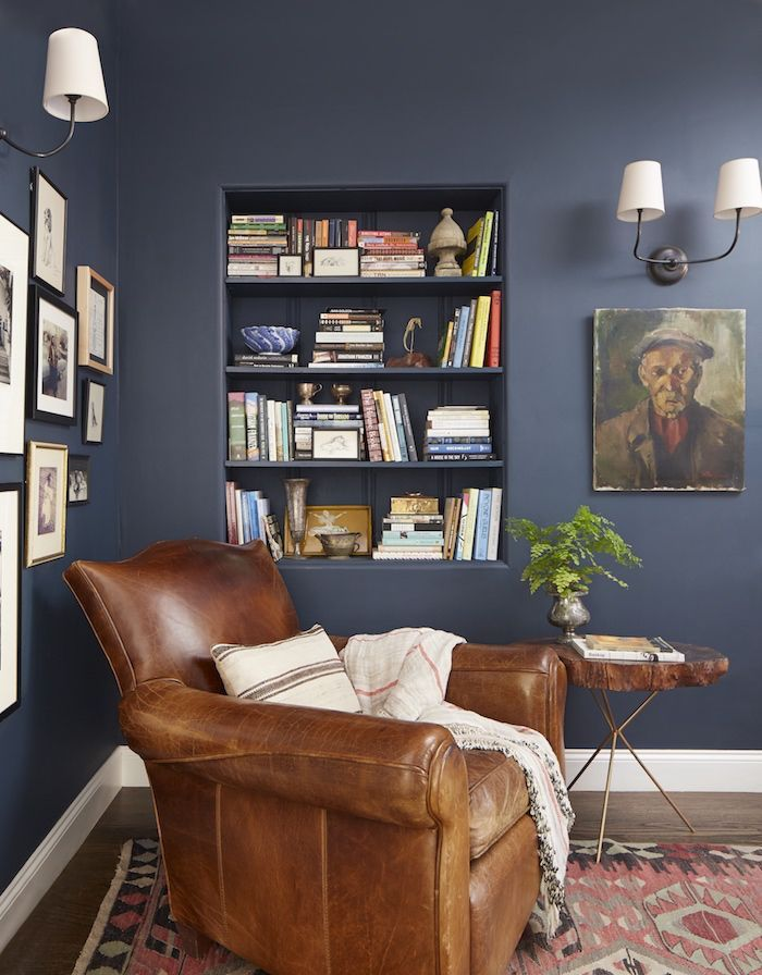 Best Emily Henderson Hague Blue Reading Nook Leather Chair Gallery Wall Bookshelves Cozy Reading 400 x 300