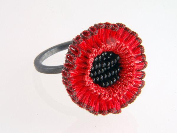 "Anke Hennig - ""Linea"" FlourishRing in nylon, rayon, oxidized silver and glass beads 220£"