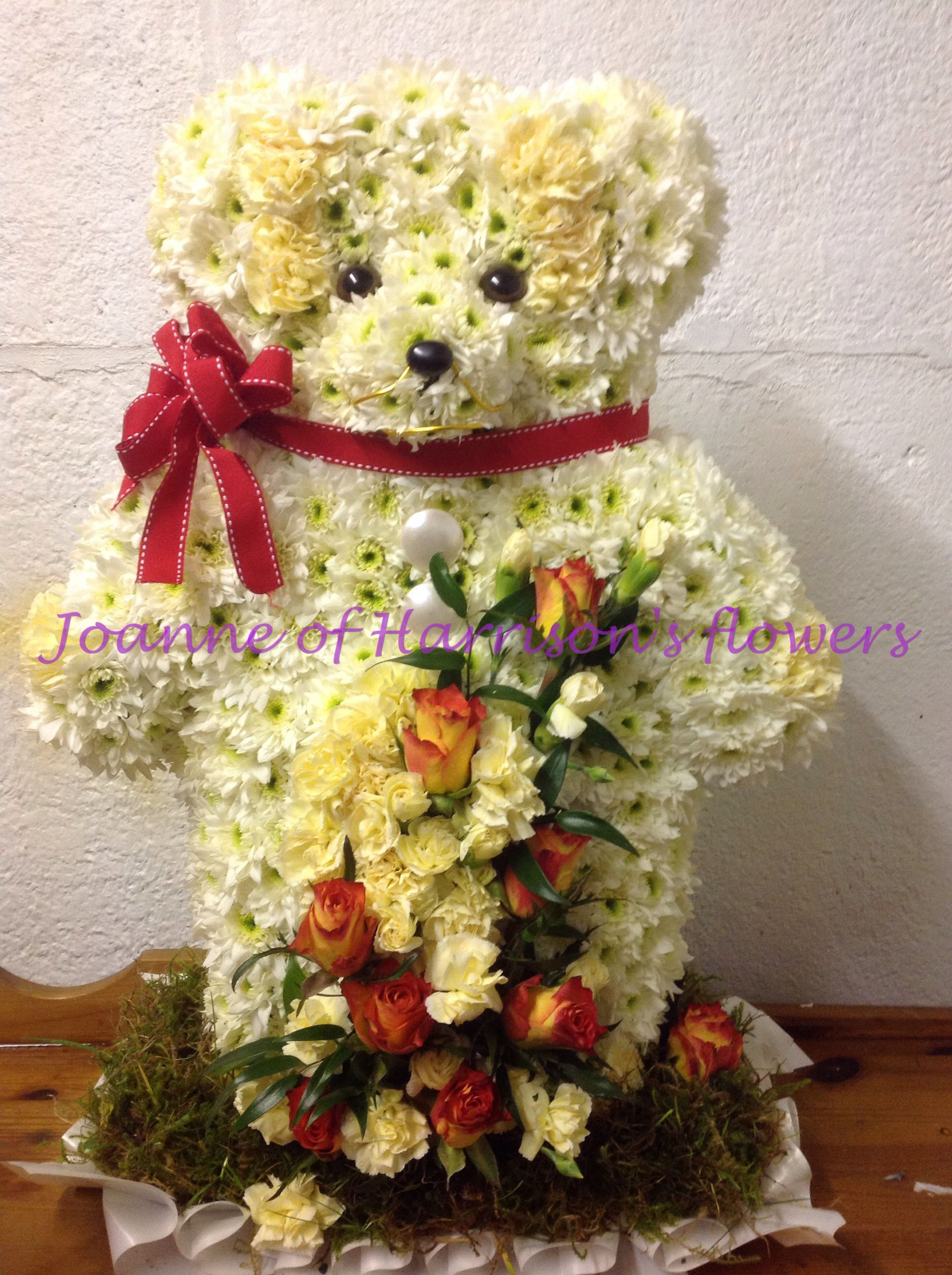 3d standing teddy bear with roses and spray carnations funeral 3d standing teddy bear with roses and spray carnations izmirmasajfo Choice Image