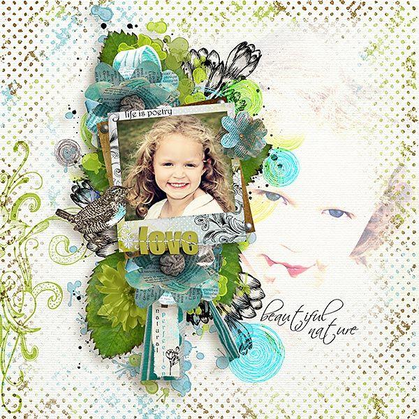 Poetic Nature by #ReginaFalango has gorgeous greens and blues.  #thestudio #digitalscrapbooking