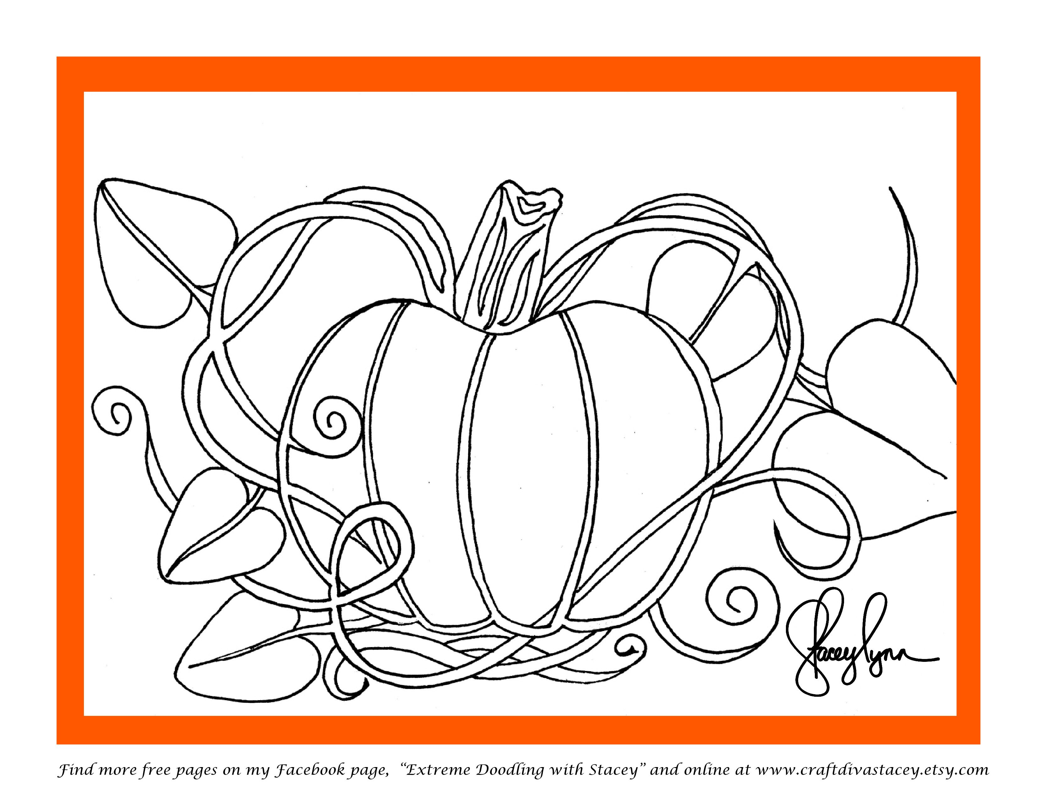 Pumpkin Doodle Coloring Page Find More At