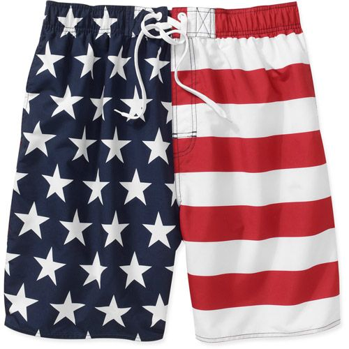 Walmart Faded Glory Men S American Flag Swim Trunk American Flag Bathing Suit American Flag America Shorts