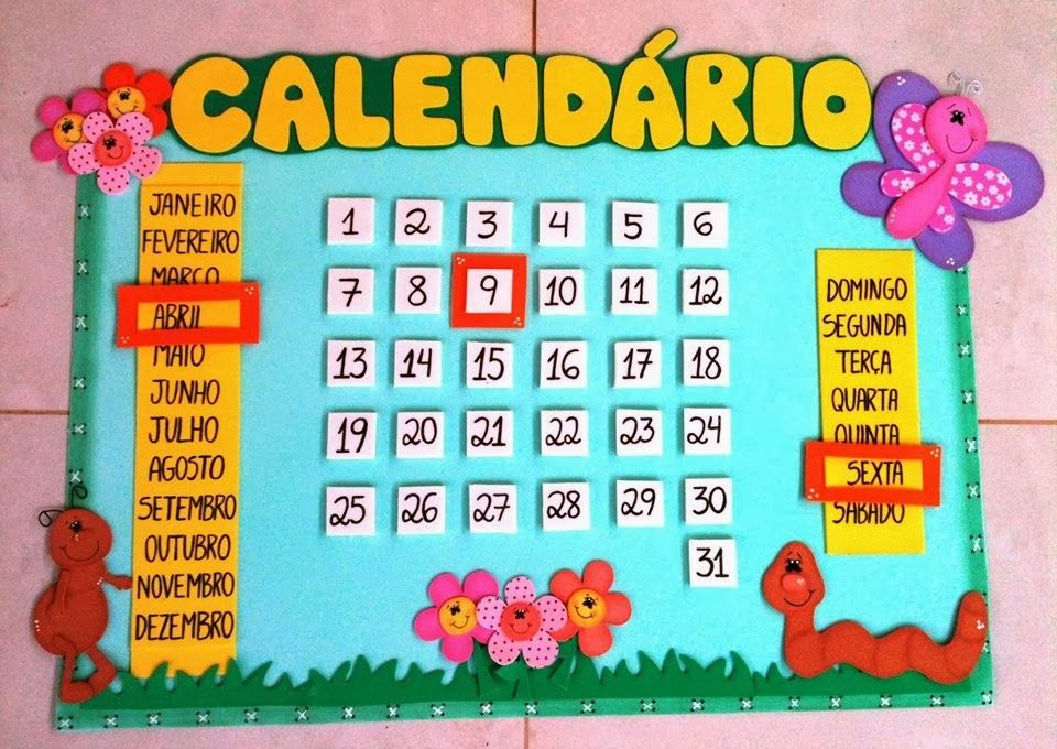 Calendario murales pinterest aula preescolar y escuela for Actividades para jardin infantil