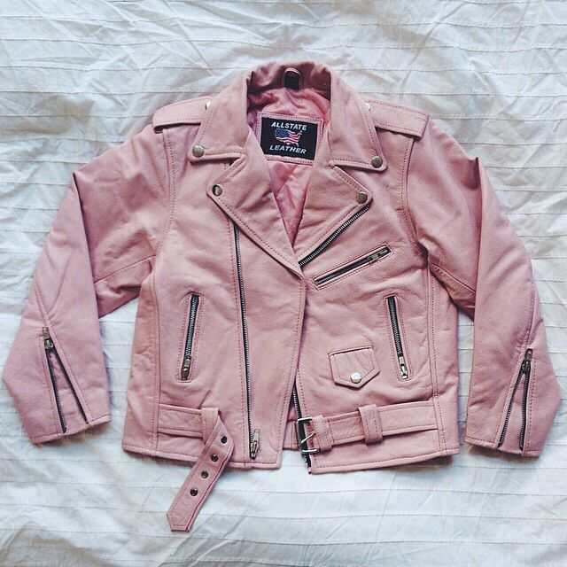 Pastel pink leather jacket #80s