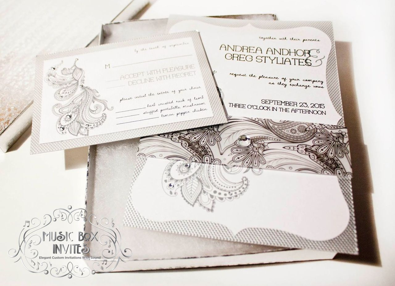 Musical Wedding Invitation and RSVP card and envelope. Box Plays ...