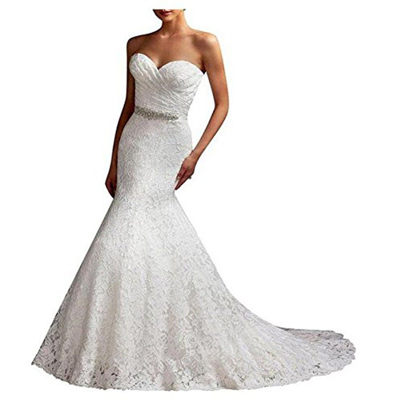 Yuxin Women\'s Strapless Sweetheart Mermaid Lace Bridal Wedding Dress ...