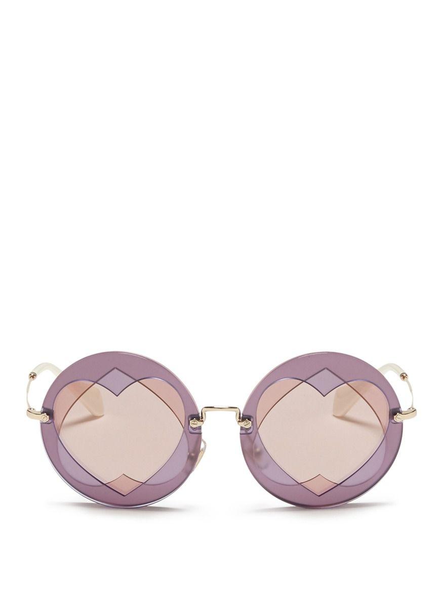 MIU MIU Cutout Heart Window Round Sunglasses. #miumiu #sunglasses ...