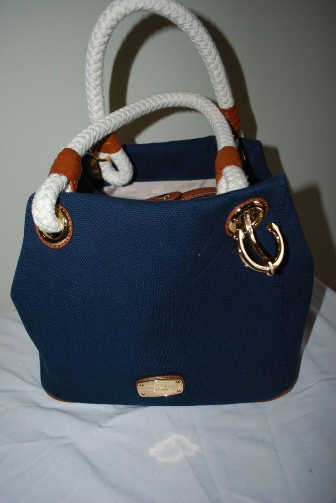 a56d78d867c9b2 ... discount code for michael kors navy blue canvas marina grab bag tote  nautical rope mediums sz
