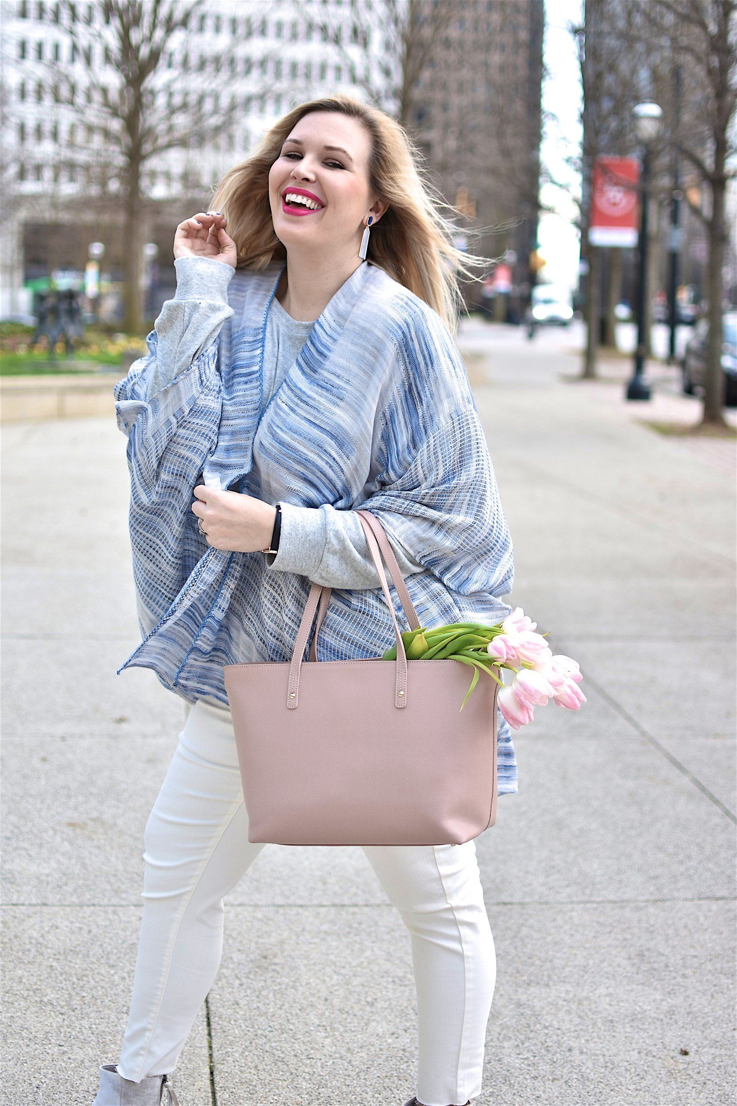 a515270971c Spring kimono blue white jeans spring style cute outfits tulips pastel pink  blonde plus size style curvy style