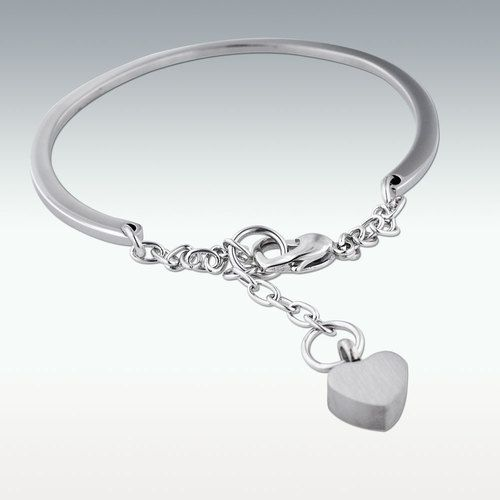 "Small Heart Charm Cuff Charm Bracelet - 1-3/8"" Opening"