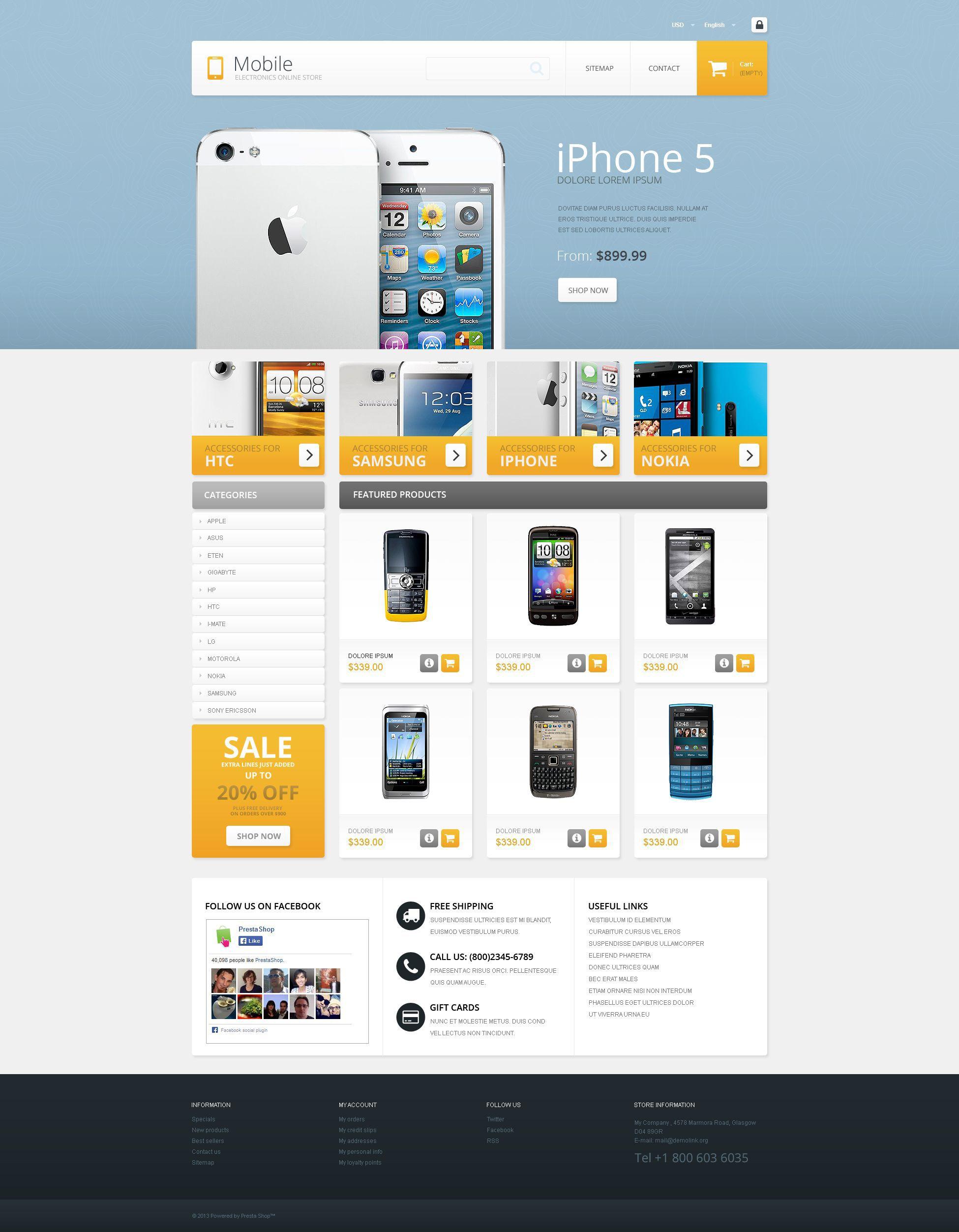 Mobile Electronics Store Prestashop Theme Template
