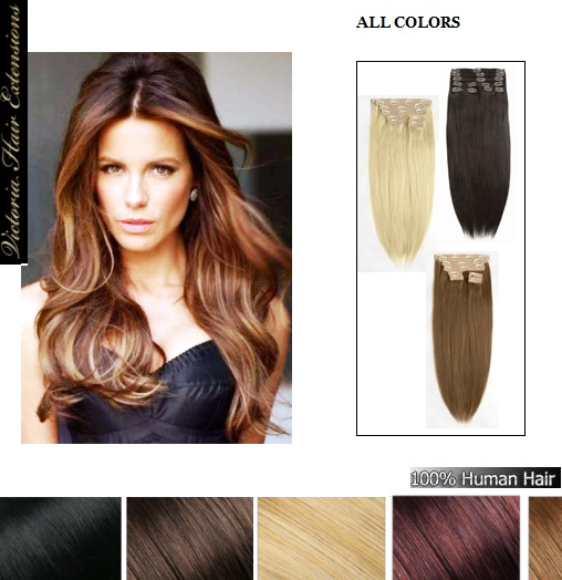 18 inch (45cm) long DOUBLE WEFTED Clip In Human Hair Extensions 140g.,10 Pieces, 100% Human Hair,ALL COLOURS