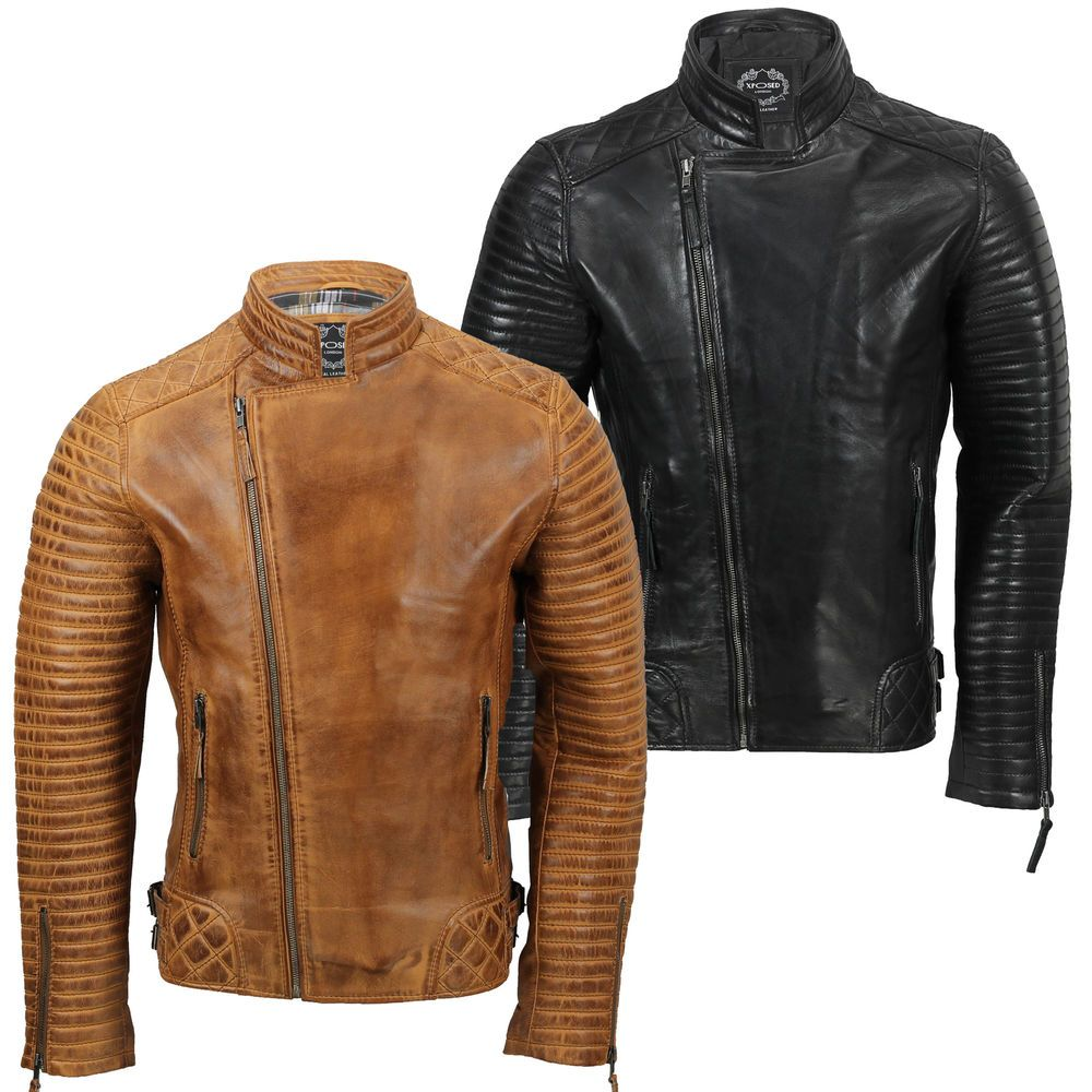 Mens Biker Vintage Motorcycle Washed Brown Retro Napa Soft Real Leather Jacket