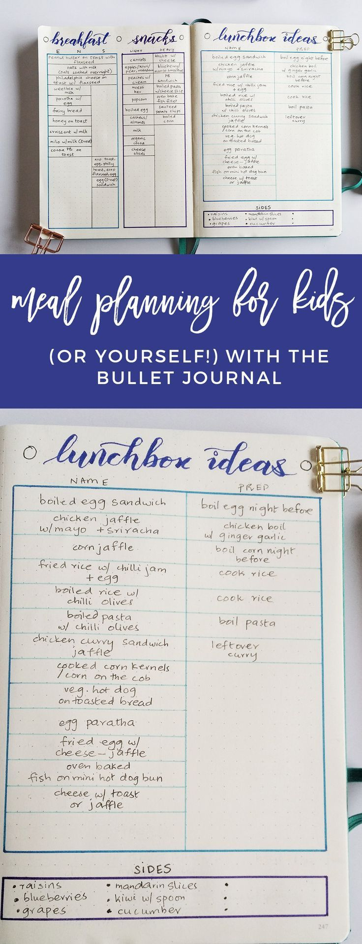 Bullet Journal Meal Planning Spread for Moms is part of Organization Journal Meal Planning - Whether you are a Mom or not, odds are you have a lot of chaos to manage  This helps me cut back by bullet journal meal planning for my kids (and me)!