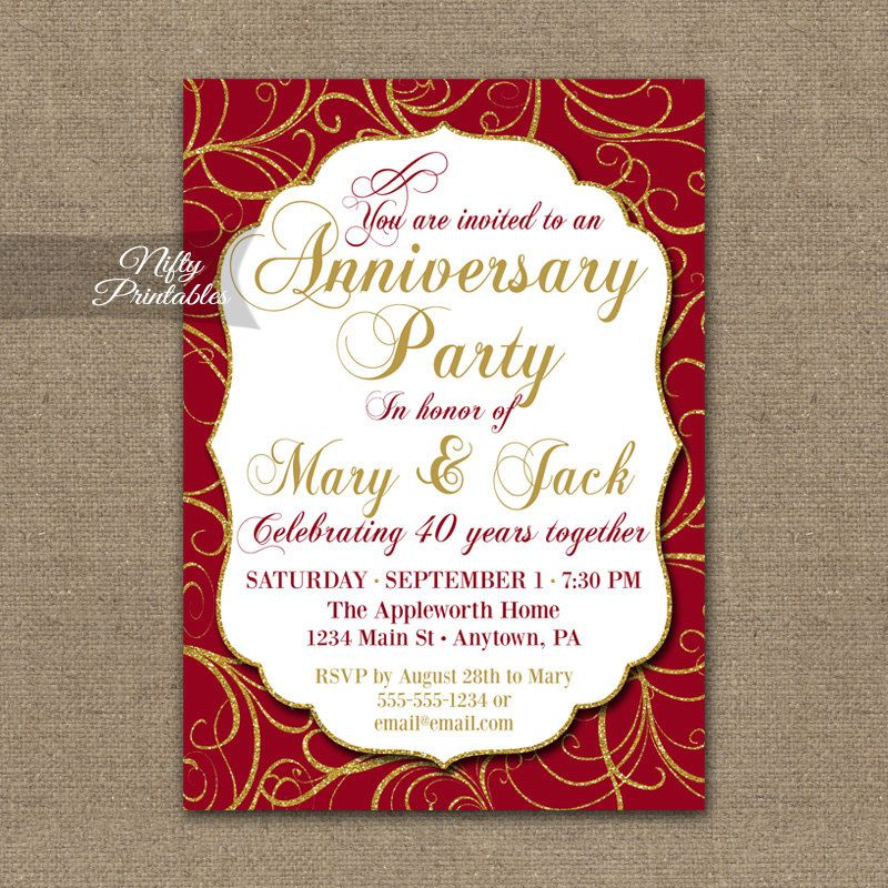 65th Wedding Anniversary Invitations | M&D 40th Anniversary Ideas ...