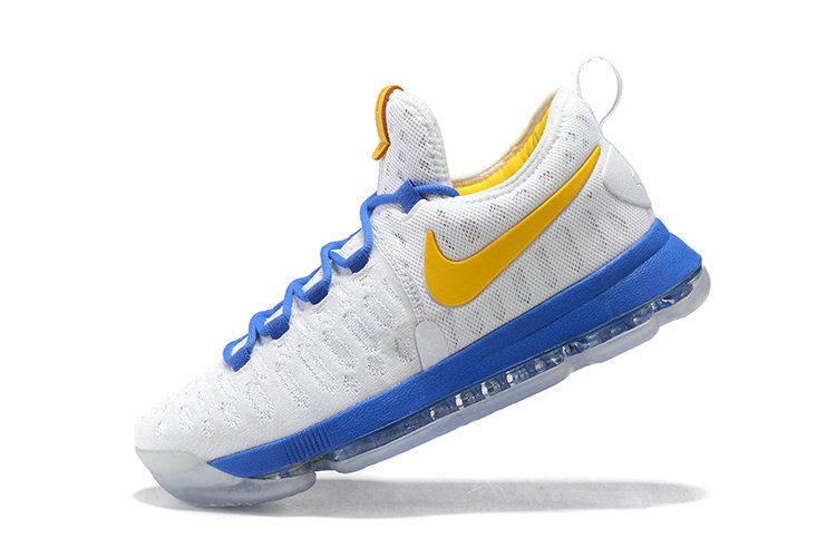 Spring Summer 2018 Where To Buy KD IX Flyknit Warriors Home White Yellow  Blue
