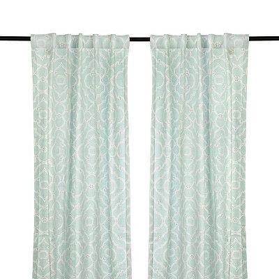 Cannes Aqua Curtain Panel Set 96 In