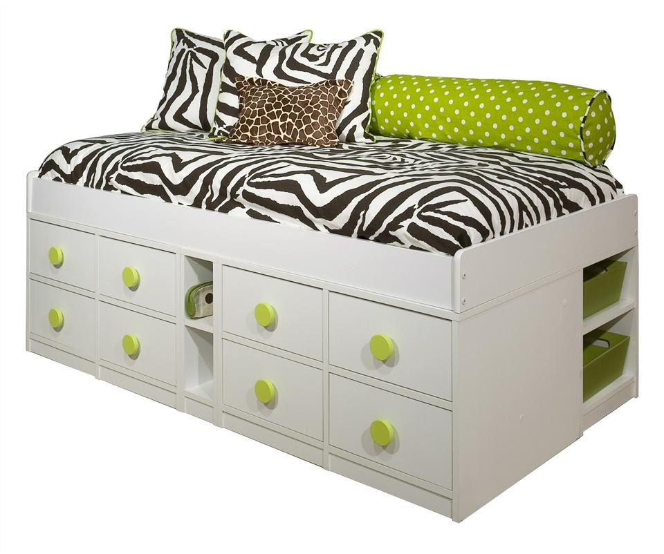 White Twin Captain\'s Storage Bed in Wood w Low Frame - Sierra ...