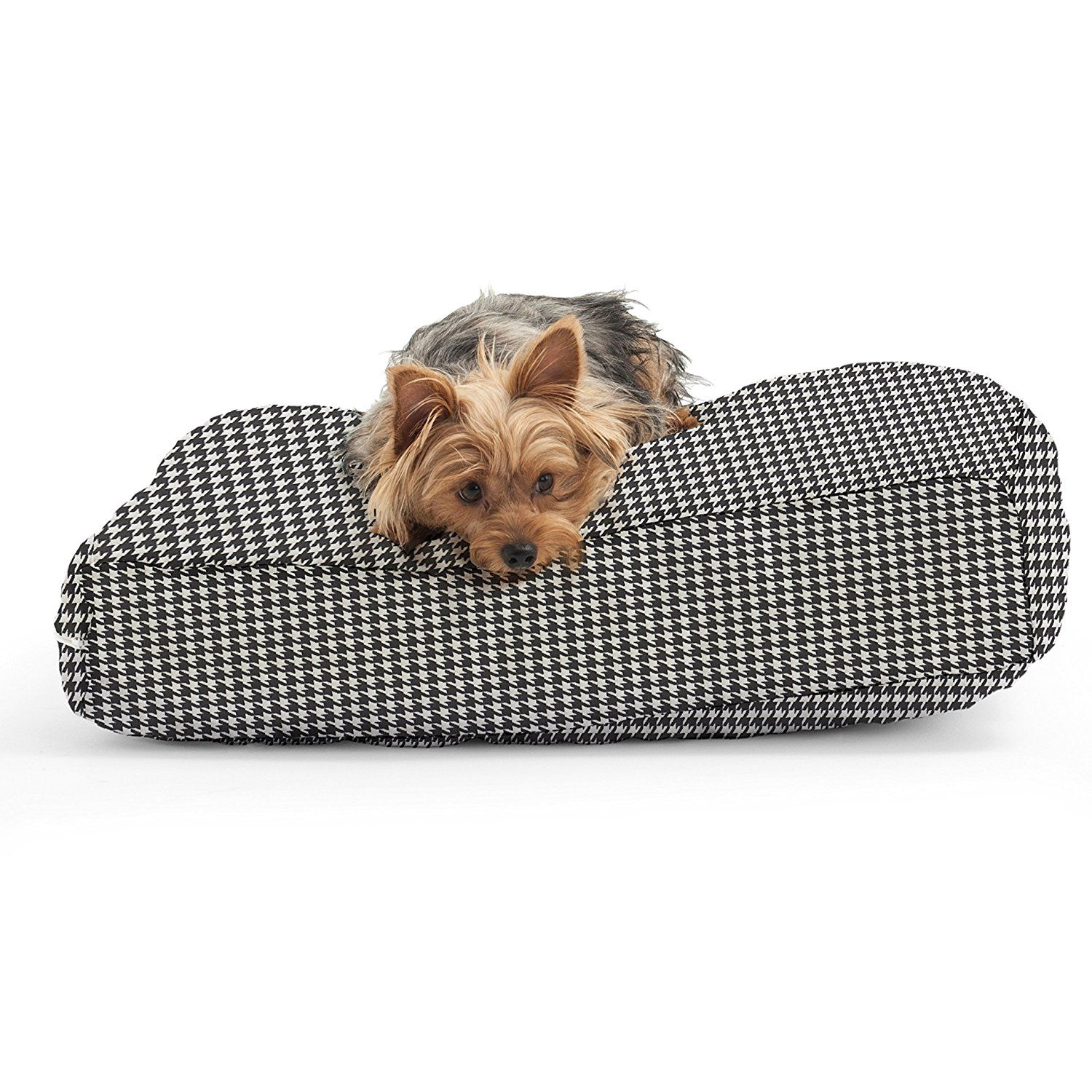 The X- small DogSack Rectangle Memory Foam Black/ White Houndstooth Print Twill Pet Bed ** Find out more about the great product at the image link. (This is an affiliate link and I receive a commission for the sales)