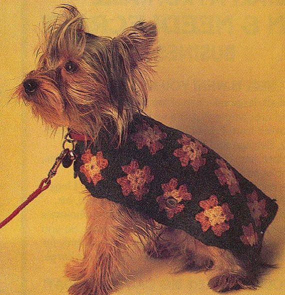 Crochet DOG SWEATER Pattern Vintage 70s Granny Square Dog Sweater ...