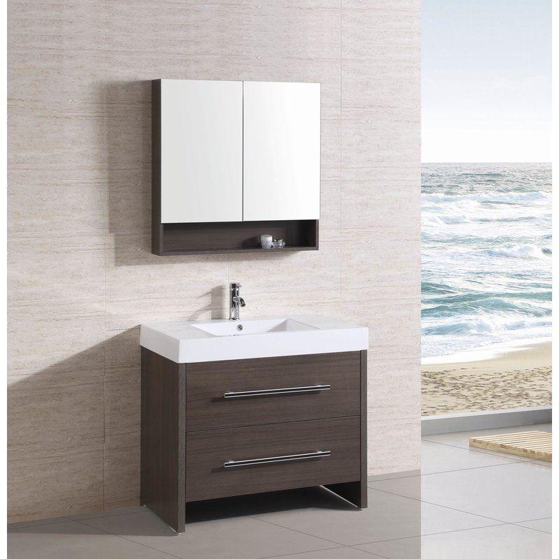 This 36 Rdquo Single Modern Bathroom Vanity Set Features A Basin