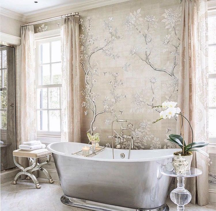Beautiful Bathroom with Chinoiserie wallpaper Bathroom